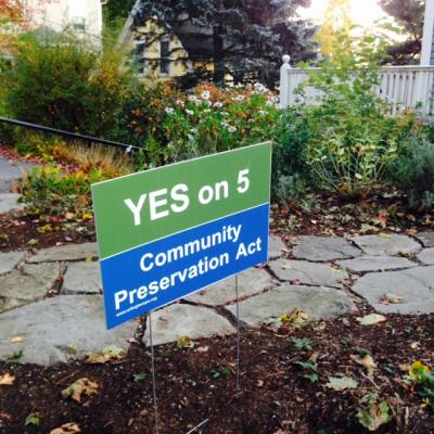 "A lawn sign in Arlington in support of the CPA ballot question reads ""YES on 5 Community Preservation Act"""