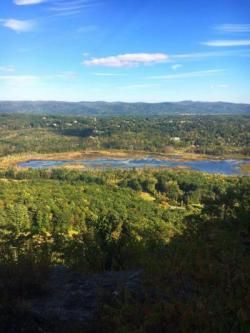 An expansive view of Parson's Marsh in Lenox, looking down from Lenox Mountain to the marsh