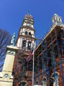 Gloucestre's City Hall, complete with scaffolding, under reconstruction in April of 2012