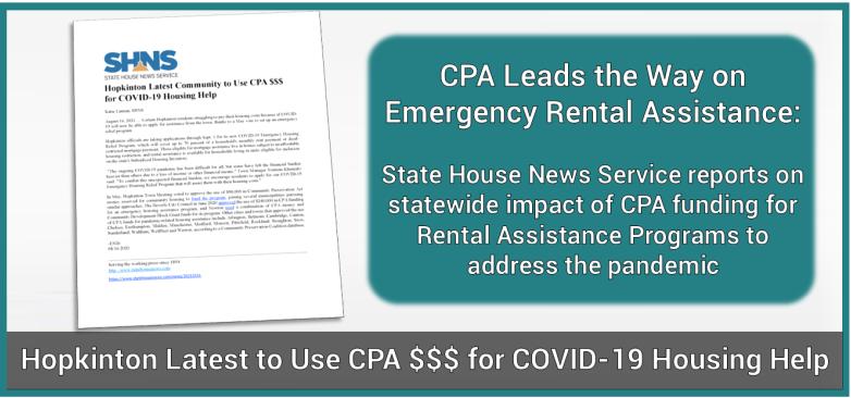 Hopkinton Uses CPA $$$ for COVID-19 Housing Help - SHNS