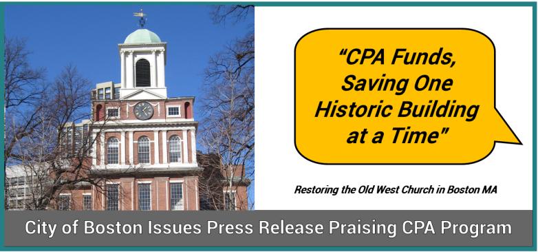 City of Boston Issues Press Release Praising CPA Program